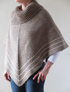 CAFE AU LAIT - Handmade Crochet Poncho - 100% Wool with Cotton Detail - Fits all regular sizes by tristahill on Etsy