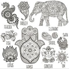Lotus, Hamsa, Elefant, Ganesha und andere in Mihendi verwendete Symbole. Ganesha Tattoo, Elephant Tattoos, Hindu Symbols, Body Art Tattoos, Mandala Tattoo, Hamsa, Mandala, Symbolic Tattoos, Spiritual Tattoos