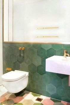 Tiles : Green Bathroom Tile Stickers Bathroom With Dark Green Tile Floor Green Bathroom Tile Images Green Wall Made Of Beautiful Tiles In This Occasion Hexagons The Combination With Green Tile Bathroom Green Bathroom Tile Paint' Green Tile Bathroom' Green Bathroom Trends, Bathroom Inspo, Bathroom Interior, Bathroom Inspiration, Bathroom Ideas, Bathroom Renovations, Design Bathroom, Bathroom Makeovers, Baths Interior