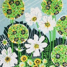Allium and Cosmos lino print by Zebedee on Folksy.