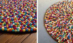 Alfombra DIY de bolas de fieltro