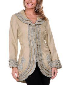 This Beige & Gray Ruffle Linen Jacket - Women by Firmiana is perfect! #zulilyfinds