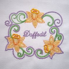 SPRING DAFFODILS FRAME 5X7-daffodil embroidery designs, Spring daffodil flower embroidery designs, floral frame embroidery designs, kitchen ...