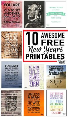 There's nothing like a powerful quote to inspire greatness, right? Here are 10 free New Years quote printables to encourage you (and your kids!) toward your New Year's goals. Inspirational quotes to breathe new life into your family and life. Which of these New Year quotes pictures is your favorite? #7 and #8 are rocking my world right now...