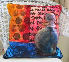 PAINTED QUILTS by ANNABEL RAINBOW this cushion is painted on velvet by Laura and Linda Kemshall