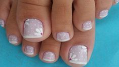 Imagem Cute Pedicures, Mani Pedi, Manicure And Pedicure, Pretty Toe Nails, Pretty Toes, Pedicure Designs, Toe Nail Designs, French Gel, Flower Nails