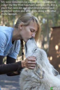 Mind blown. Not due to the pastey thing with man-hands smoochin a wolf, but the existence of this sanctuary......very cool indeed.