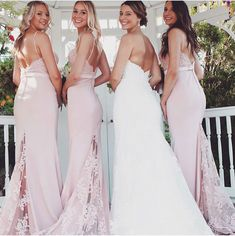 Mermaid Pink Long Bridesmaid Dresses with Lace Train Unique Bridesmaid Dresses, Wedding Dresses With Straps, Beautiful Prom Dresses, Bridesmaid Flowers, Wedding Party Dresses, Cute Dresses, Girls Dresses, Flower Girl Dresses, Wedding Shoes