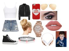 """""""First Date with  Nash Grier"""" by lovinglife56 on Polyvore featuring Topshop, Frame Denim, Rick Owens, Marc Jacobs, Ray-Ban, Lime Crime, Converse, Monsoon, Michael Kors and Frends"""