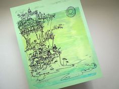 My detailed doodle of seaside cliff houses on a beach, which I silkscreen…