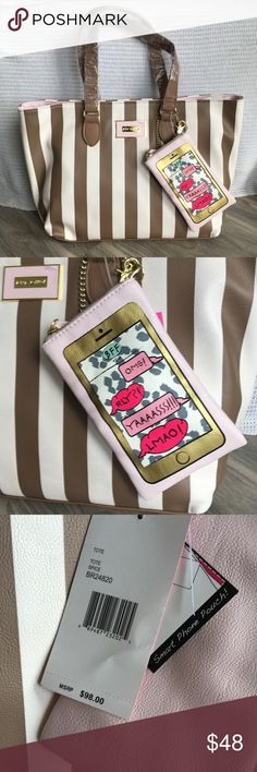 """Betsey Johnson Tote with phone case striped - NWT Betsey Johnson Tote with phone case. Brand new. It is very roomy, great for carrying a lot! Measurements: 10""""H, 17""""W, 6.25""""D. Phone case 6.5""""H, 4""""W. 8""""Handle drop. Manmade exterior, textile lining Betsey Johnson Bags Totes"""