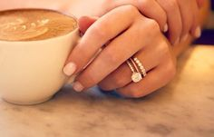 Love the engagement and wedding ring with extra stack, maybe as a push present!