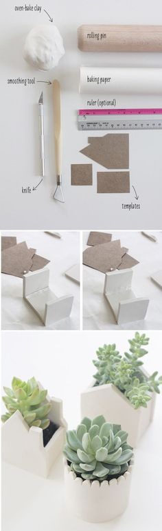 DIY: Little Clay House Potters for Succulents Du papier et des idées