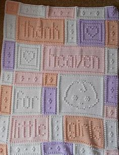 """Heaven baby blanket by Jody Pyott @ Ravelry/ reads"""" thank heaven for little girls"""" - can be made for boys also/ CROCHET pattern / use your own colours/ 38"""" x 48""""/ what a super gift for the newborn angel!"""