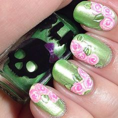 Nails 2 Die For.Green and Pink Orange Nail Designs, Toe Nail Designs, Nail Polish Designs, Green Nail Art, Floral Nail Art, Nail Polish Art, Toe Nail Art, Get Nails, Hair And Nails