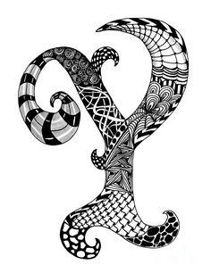 Zentangle Letter Y Monogram Drawing