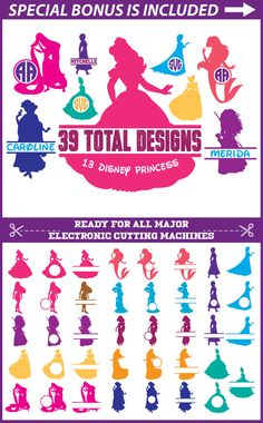 Disney Princess Svg Files, Princess Monogram Svg, Disney Princess Clip Art, Princess Silhouette Svg files for Cricut, Scrapbooking Supplies
