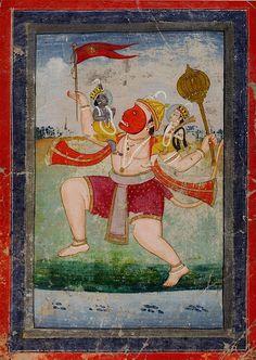 Hanuman carries Rama and Lakhsmana. The Ramayana. Jaipur, India ca. 1780-1810