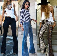 moda   moda 2015   anos 70   calça flare   calça boca larga   looks com calça boca larga   tendência inverno 2015   calça flare inverno 2015   boho chic   look casual