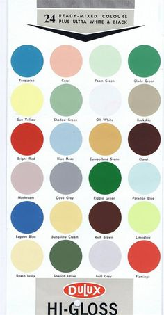Original Dulux colour chart from the 1950's