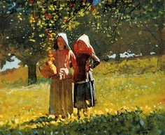 Apple Picking, watercolor by Winslow Homer, 1836-1910,  American artist