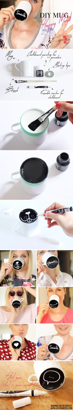 DIY Mug / chalkboard painting / DIY tasse / peinture ardoise pour porcelaine…