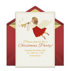 Customizable, free Angel online invitations. Easy to personalize and send for a Christmas party. #punchbowl