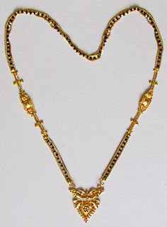 Gold Polish Mangalsutra (Beads and Metal)) marriage necklace