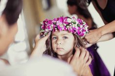 Orchid and baby's breath flower crown, created by Passion Roots, Hawaii Wedding Florist. www.passionroots.com