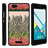 BLU Studio Energy Case, Perfect Fit Cell Phone Case Hard Cover with Cute Design Patterns for BLU Studio Energy D810L (AT&T, T Mobile, MetroPCS) from MINITURTLE | Includes Clear Screen Protector and Stylus Pen - Zebra Flower Camouflage