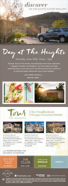 New Homes for Sale in Santa Clarita, California  You're Invited – Day at The Heights on Saturday, June 25th  11AM - 2PM  |  Tour Models | Enjoy Treats  |  Music  |  Fun for the kids  http://fiveknolls.com/day-at-the-heights/