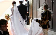 The bride makes her way outside