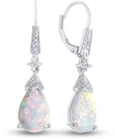 Fine Jewelry Genuine Blue Topaz & Lab-Created White Sapphire Sterling Silver Drop Earrings z6dsWrp
