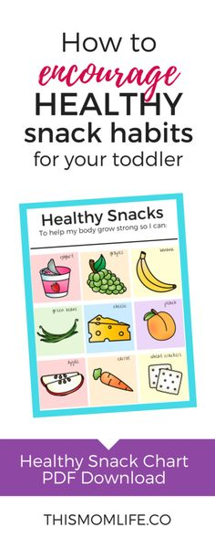 Healthy snack chart for kids to encourage healthy meals. #toddler #parenting #healthytoddlersnacks #toddlersnacks