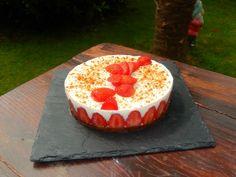 Cheesecake fraise rhubarbe (sans cuisson)