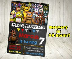 Five Nights At Freddy S Invitations And By Hawthorneprintables Night