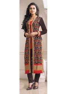 Party Wear Brown Georgette Salwar Suit - RAGINI04