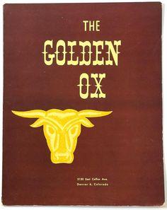 1960's Vintage Dinner Menu THE GOLDEN OX Steakhouse Restaurant Denver Colorado Advertising Poster, Denver Colorado, Dinner Menu, Ox, 1960s, Restaurant, History, Vintage, Diner Restaurant