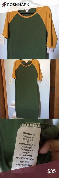 LuLaRoe Julia L LuLaRoe Julia in size L. Green and gold! Perfect for Green Bay Packer fans who want to be super cute and stylish while watching the games!!! NWT!! LuLaRoe Dresses Midi
