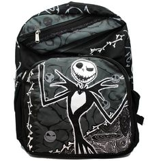 Full Size Black and Grey Jack Skellington Backpack ($16) ❤ liked on Polyvore featuring bags, backpacks, rucksack bags, sports bag, backpack sports bag, day pack backpack and sports backpacks