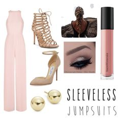 """How to Wear Sleeveless Jumpsuits"" by ashlynmillet ❤ liked on Polyvore featuring Jimmy Choo, Gianvito Rossi, Lord & Taylor, Bare Escentuals and sleevelessjumpsuits"