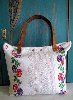 28-V. upcycled hand embroidered bag/linen bag/upcycled antique embroidery/linen shoulder bag/hand embroidery bag/reused embroidery/handbag