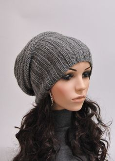 Hand knit hat dark grey charcoal Chunky Wool Hat slouchy hat - ready to ship a638c5b3096