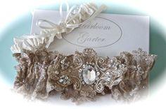 Wedding Garter Set for Bride in Champagne Heirloom by GarterLady, $85.00