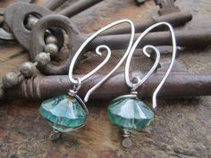 Sparkling Aqua Czech Glass Sterling Silver Earrings by StonePeace