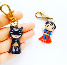 Batman and Superman DC Comics Polymer Clay Simple Chibi Keychain Justice League Kawaii Party Favors or Father's Day Gift