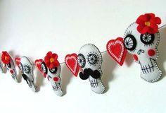 Retro Wedding Sugar Skull Garland - Folksy