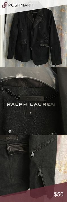 Ralph Lauren Denim and Leather Blazer This is a gorgeous denim and butter soft leather designer blazer.  It is a unique blend of motojacket and classic blazer!  It can be dressed up over a LBD or down with some jeans and boots or heels. Ralph Lauren Jackets & Coats Blazers