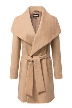 Light Tan Lapel Long Sleeves Long Wool Outerwear With Belt