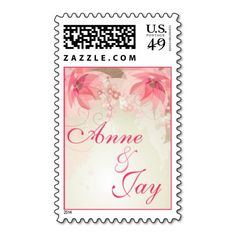 Pink Floral Wedding Stamps  Repinned by Annie @ www.perfectpostage.com